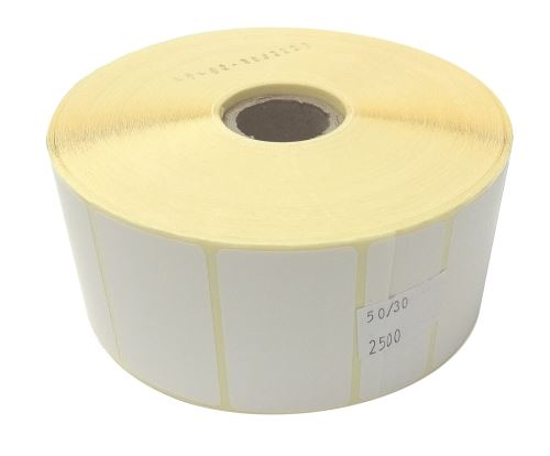 Adhesive paper labels 50x30mm, price per 1000pc (2500pc/roll)