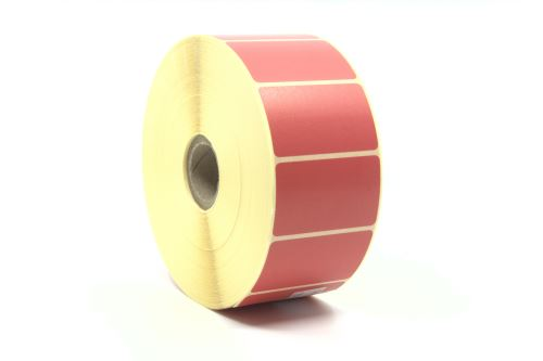 Adhesive paper labels 50x30mm,red colour
